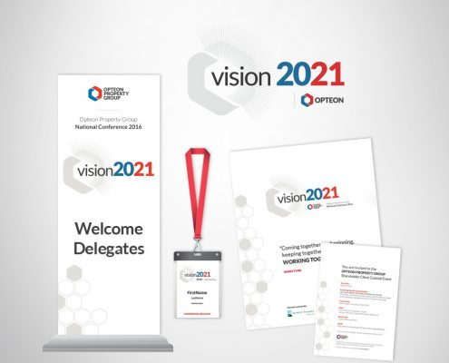 Corporate event conference custom branded marketing collateral.