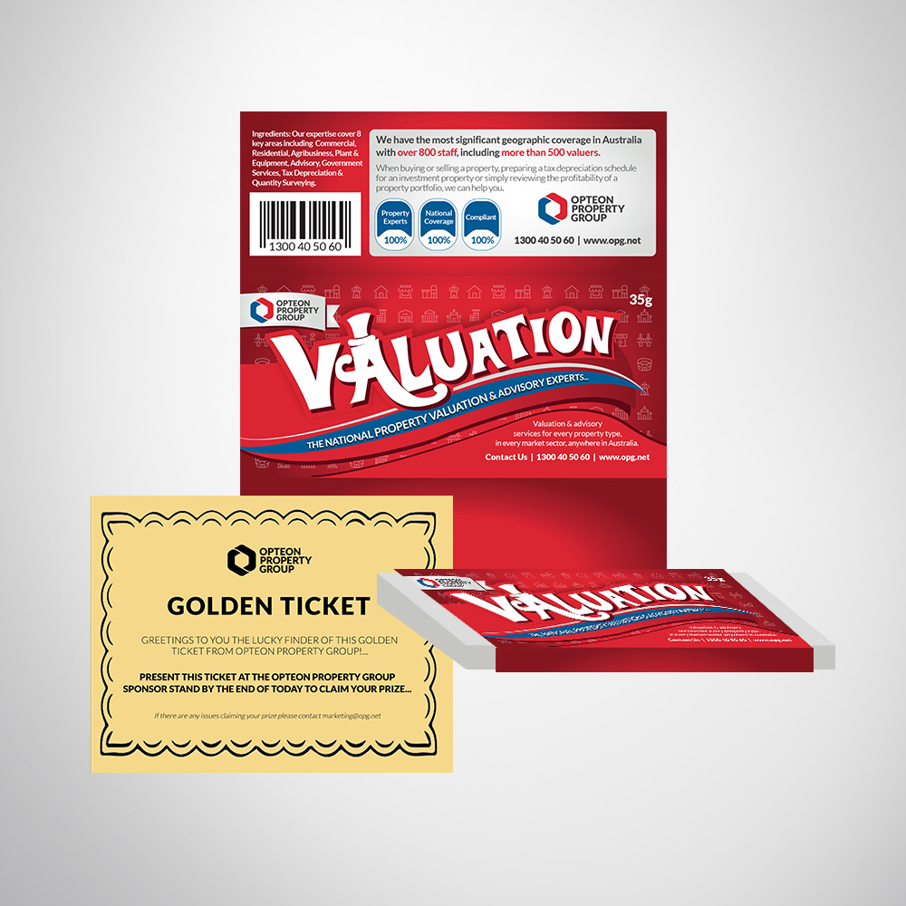 Corporate event conference merchandise custom branded chocolate bar and golden ticket.