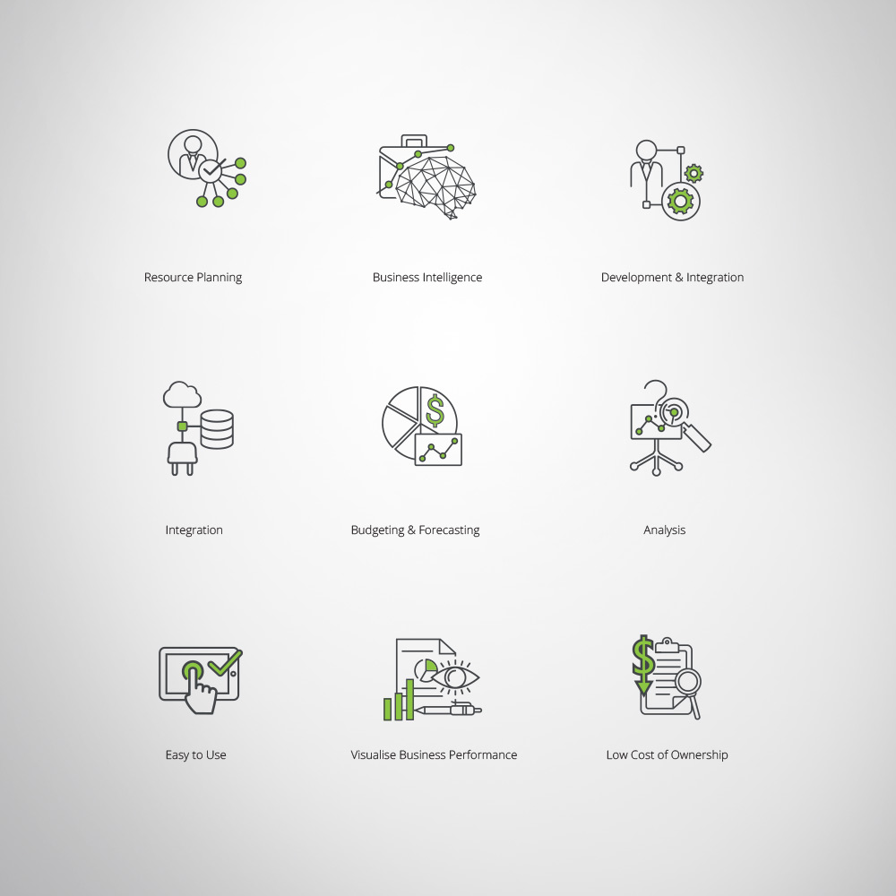 Technology business custom design branded icon set