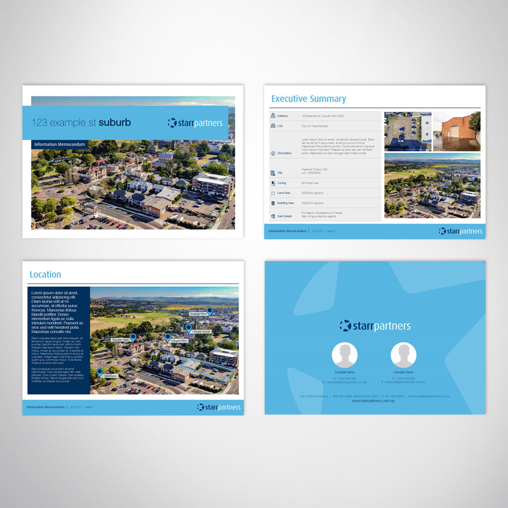 Custom Digital Brochure Landscape Microsoft PowerPoint Template