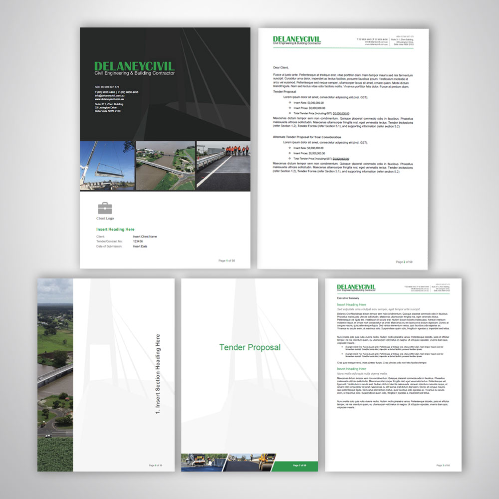 Custom Branded Business Tender Word Template Design