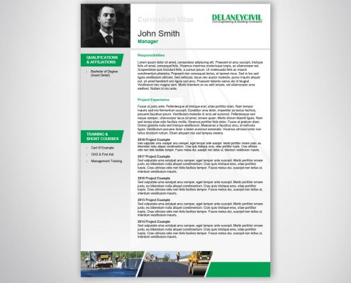 Custom Branded Resume Template Design for Business Tenders and Proposals
