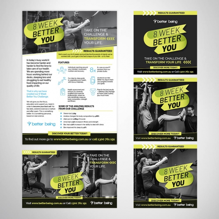 Fitness & Leisure Brand - Marketing Campaign Materials - Instagram Banners - EDM Banner - Flyer Design
